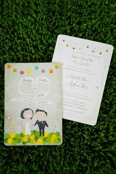 whimsical wedding invitation by marcia