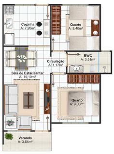 Veja 3 modelos de casas com até 70 que poderá construir pelo programa minha casa minha vida da CEF House Layout Plans, Small House Plans, House Layouts, House Floor Plans, Home Building Design, Home Design Plans, Plan Design, Building A House, Building Homes