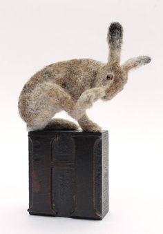 """Dinny Pocock -- needle felt hare. VEGANIZE this, please! Art and creativity should NEVER support or condone animal cruelty and exploitation. Make sure your art/craft supplies aren't sourced from animals (such as """"wool"""" felt, mohair, angora or alpaca fur, silkworm thread, feathers, etc.) and that they reflect a true reverence for life. Always use animal-free alternatives. Be kind. Be fair. Be vegan."""