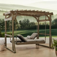 Fire Pit Discover Backyard Discovery Claremont Lounger Wood Pergola Swing - The Home Depot Resin Patio Furniture, Backyard Furniture, Outdoor Furniture, Furniture Legs, Barbie Furniture, Furniture Design, Antique Furniture, Modern Furniture, Rustic Furniture