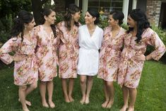 Pastel Pink Wedding Theme Ideas - Knee length Robe Style Made From CC5 Fabric Pattern. This is a unique bridesmaids gift idea - Perfect photo prop for the getting ready time on your big day as well as a practical gift which can be used by the bridesmaids long time after the wedding. Robes like these can also be used as spa robes, lounge wear, they are also commonly referred to as kimono crossover robe. These robes are also ideal for bridal shower, wedding favors, bridal party.