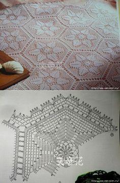 Скатерть крючком + схемы. Crochet Motifs, Crochet Diagram, Tunisian Crochet, Thread Crochet, Filet Crochet, Crochet Doilies, Knit Crochet, Crochet Patterns, Crochet Square Blanket