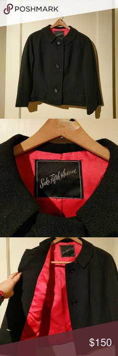 VINTAGE SAKS FIFTH AVENUE JACKET. Black wool cropped swing jacket with collar. Very Audrey Hepburn. Absolutely pristine condition. FULLY lined in red satin. Saks Fifth Avenue Jackets & Coats