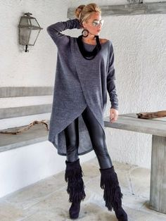 Gray Winter Warm Knitted Asymmetric Blouse / by SynthiaCouture