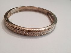 Vintage Rhinestone Gold Bangle Bracelet 1980s Costume Jewelry on Etsy, $7.20