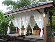 The Fancy Pergola Mosquito Curtains Designs with Pergola Screens Pergola Curtains Insects Shade 29145 above is one of pictures of home decorating and Curta Outdoor Drapes, Outdoor Lounge, Outdoor Rooms, Outdoor Living, Outdoor Decor, Outdoor Fun, Outdoor Ideas, Porch Curtains, Curtains With Blinds