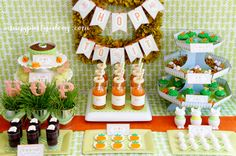 Easter or Bunny Birthday Party Dessert Table Ideas from AmysPartyIdeas.com