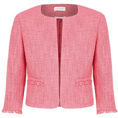 Minuet Petite Fringe textured jacket (3,675 MKD) ❤ liked on Polyvore featuring outerwear, jackets, blazer, pink, petite, women, red blazer jacket, 3/4 sleeve jacket, petite jackets and evening jackets