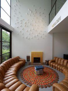 round sofa in loft space