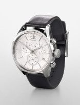 ck masculine stainless steel silver face chronograph watch