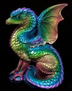 Spectral Dragon Handmade Statue -- Rainbow -- Windstone Editions -- Beautifully Detailed Drake Figurine -- 514-R
