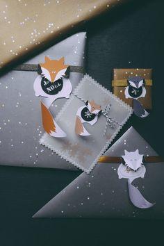 Free printable fox holiday gift tags