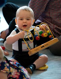 Prince George and his Mum in New Zealand on a Plunket Play Date. Ten couples were chosen to attend this Royal outing and the Little Prince fit right in having a grant old time : )