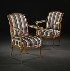 Pair of exceptional Louis XVI period carved and parcel-gilt fauteuils Georgian Furniture, Antique Furniture, Louis Xvi, Victorian Sofa, Fine Wine And Spirits, Outdoor Chairs, Outdoor Furniture, Contemporary Art Prints, Art Watch