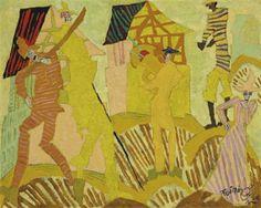 TROMPETENBLÄSER IM DORF By Lyonel Feininger Artwork Description Dimensions: 23¾ x 29¾ in. (60 x 75 cm.) Medium: oil on canvas Creation Date: 1915