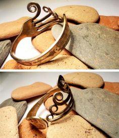 pulseras tenedor pulseras tenedor cubiertos antiguos calentar el material ,pulir  dar forma