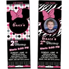 minnie mouse party ideas for 2nd birthday | of minnie mouse birthday party tickets invitations girls baby 1st 2nd ...