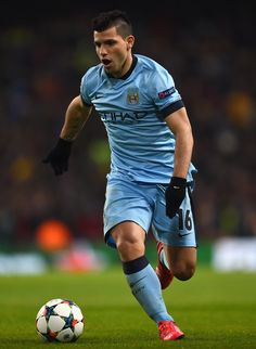 Sergio Aguero of Manchester City in action during the UEFA Champions League Round of 16 match between Manchester City and Barcelona at Etihad Stadium on February 24, 2015 in Manchester, United Kingdom.