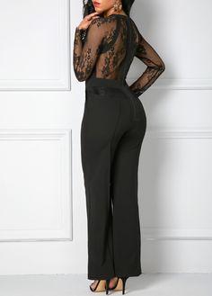 74c5d6be83e3 Lace Panel Zipper Back Black Pocket Jumpsuit on sale only US 36.32 now