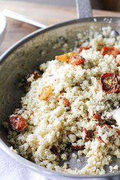 Roasted Mini Heirloom Tomatoes with Creamy Cauliflower Rice-4