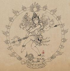 Nataraja: Shiva Dance Drawing by In Sine Deviantart Com Kali Tattoo, Tattoo Arm, Hindu Tattoos, Saved Tattoo, Dancing Drawings, Nataraja, Lord Shiva Painting, Stencils, Indian Folk Art
