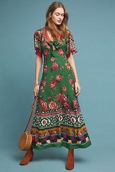 New Anthropologie Farm Rio Bolero Maxi Dress Green size Small NWT Maxi Wrap Dress, Boho Dress, Sewing Dresses For Women, Dress Sewing, Sewing Clothes, Estilo Hippy, Mode Boho, Farm Rio, Look Chic
