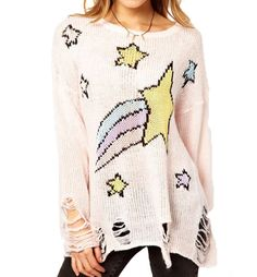 Star Print Distressed Oversized Sweater