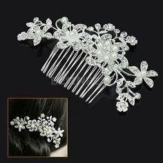 Brautschmuck Haarkamm Haarschmuck Perlen warm Weiß Kristall klar Blumen: Amazon.de: Schmuck