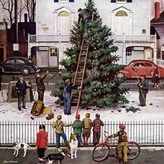 ''Tree in Town Square'' from 4 December 1948 cover of The Saturday Evening Post. Artwork by American painter Stevan Dohanos Peintures Norman Rockwell, Norman Rockwell Art, Norman Rockwell Paintings, Christmas Wall Art, Christmas Past, Holiday Tree, Christmas Images, Xmas, Christmas Cards