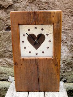 Handmade Wooden Clock with crackle effect face £38.00