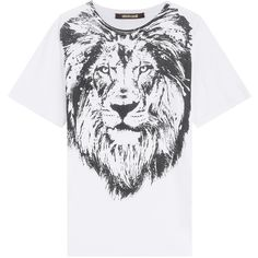 Roberto Cavalli Printed Cotton T-Shirt found on Polyvore featuring polyvore, women's fashion, clothing, tops, t-shirts, white, white tee, slim fit t shirts, white top and white t shirt