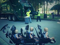 Conheça a amizade entre estes trigêmeos de 2 anos e os coletore de lixo de seu bairro