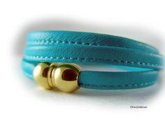 Wickelarmband Lederarmband Damen türkis oder von elfenstuebchen