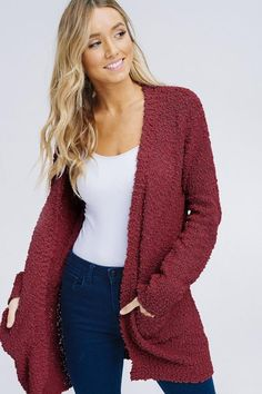 9fed95a3a3 Burgundy Plush Popcorn Cardigan Sweater from Divine Couture Boutique  Sweater Cardigan