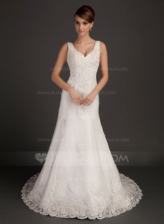 Wedding Dresses - $234.99 - A-Line/Princess V-neck Chapel Train Satin Tulle Wedding Dress With Lace Beading (002015557) http://jjshouse.com/A-Line-Princess-V-Neck-Chapel-Train-Satin-Tulle-Wedding-Dress-With-Lace-Beading-002015557-g15557
