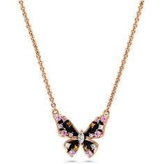 Rose Gold Flashed Sterling Silver Cubic Zirconia CZ Butterfly Enamel... ($35) ❤ liked on Polyvore featuring jewelry, pendants, butterfly pendant, cz jewellery, pendant jewelry, cz pendant and cubic zirconia jewelry