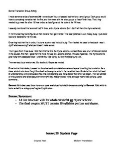 shakespeares sonnets group translation activity - Business Proposal Example