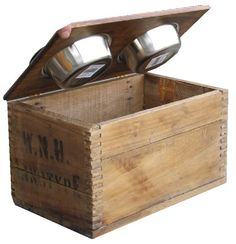 So so cute! A dog bowl/feeding station using an old crate.