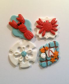 Fondant Seaside Cupcake, Cake, Cookie Toppers. Set includes 12 (one dozen) by prettypartydetails. Explore more products on http://prettypartydetails.etsy.com