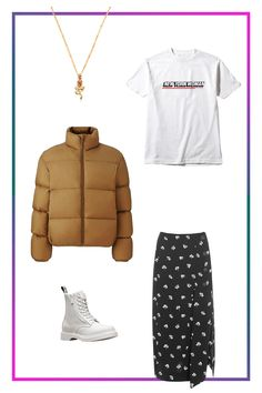 How To Wear All Your Booties This Winter #refinery29  http://www.refinery29.com/booties-winter-outfits#slide-5  Pair a combat boot with an unexpected floral midi skirt (throwing some tights in the mix if you need them). On top, it's all about a conversation-starter tee and a warm down jacket. Allow some delicate gold jewelry to tie the outfit together, and you're hitting multiple trends i...