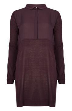 Primark - Burgundy Woven 2 In 1 Shirt Dress