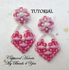 PDF Tutorial Beaded Earrings SuperDuo Tutorial Seed por mybeads4you