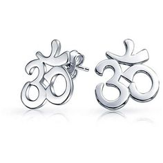Om Aum Spiritual Symbol Cut Out Sterling Silver Yoga Stud Earrings ($21) ❤ liked on Polyvore featuring jewelry, earrings, sterling silver earrings, sterling silver stud earrings, sterling silver jewelry, studded jewelry and monarch butterfly jewelry