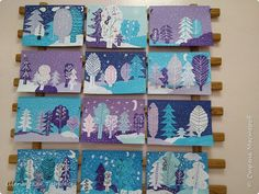 Winter Art Projects, Easy Art Projects, Winter Crafts For Kids, Art For Kids, January Art, 3rd Grade Art, Ecole Art, Art Therapy Activities, Theme Noel