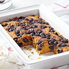 Overnight Blueberry Coffee Cake ~ With whole wheat flour, blueberries, and yogurt, this moist coffee cake recipe will help get any morning off to a healthful start!