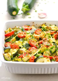 Garlic Parmesan Zucchini and Tomato Bake -- Quick and healthy zucchini casserole. 5 minutes of prep time and dinner is served.