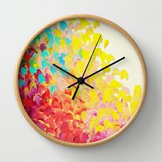 CREATION IN COLOR - Vibrant Bright Bold Colorful Abstract Painting Cheerful Fun Ocean Autumn Waves Wall Clock by EbiEmporium - $30.00