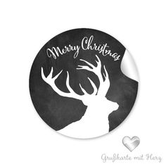 """Weihnachtsaufkleber - Sticker HIRSCH Kreidetafel Look """"Merry Christmas"""""""