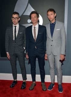 Great Fun! Nice shoes! Members of Fun. arrive at #Grammys #STYLAMERICAN