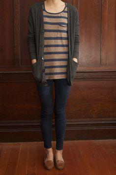 stripes, cardi, moccasins